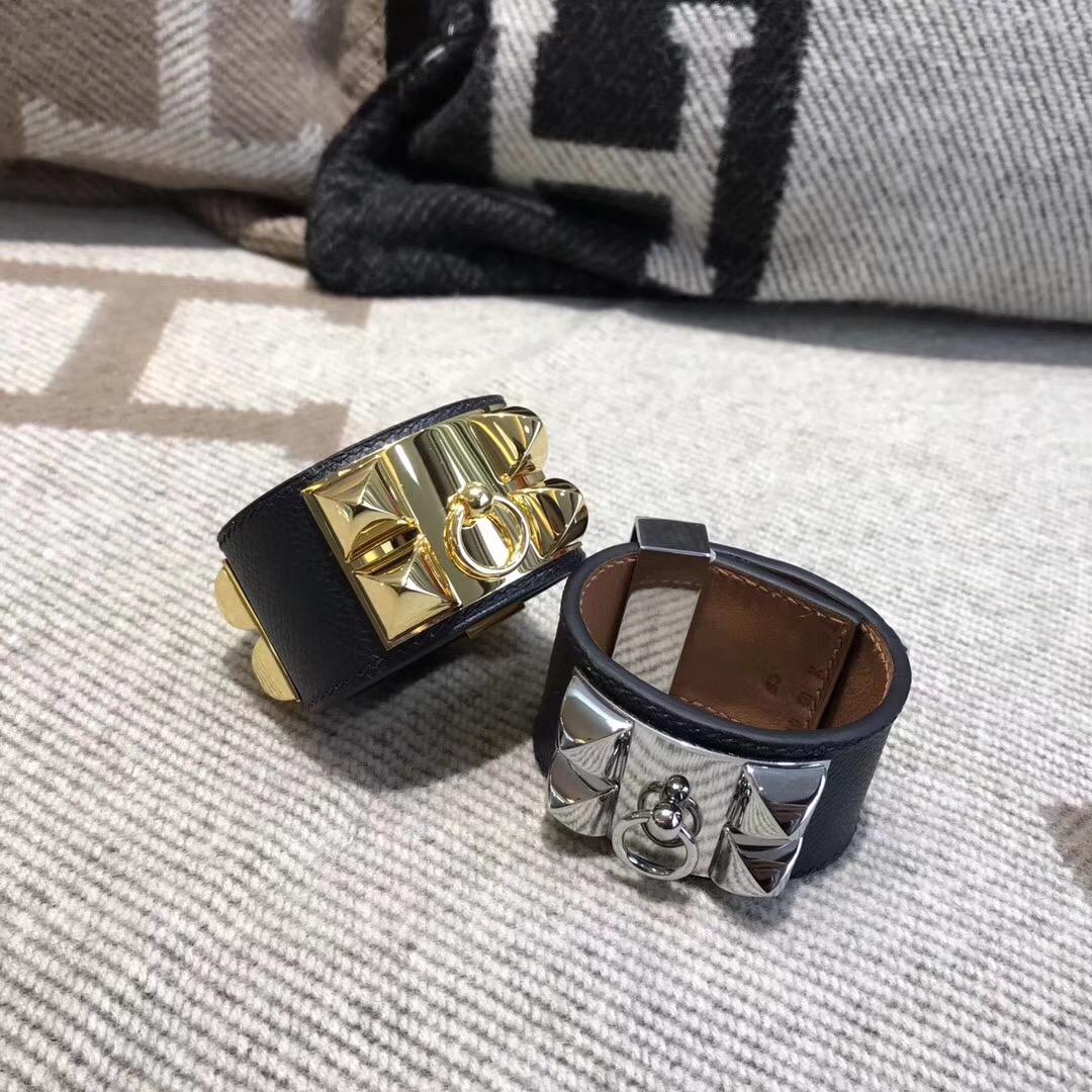 Hermes手鐲 朋克風kelly寬款手鐲 鉚釘CDC Epsom皮 CK89 Nior 黑色手環