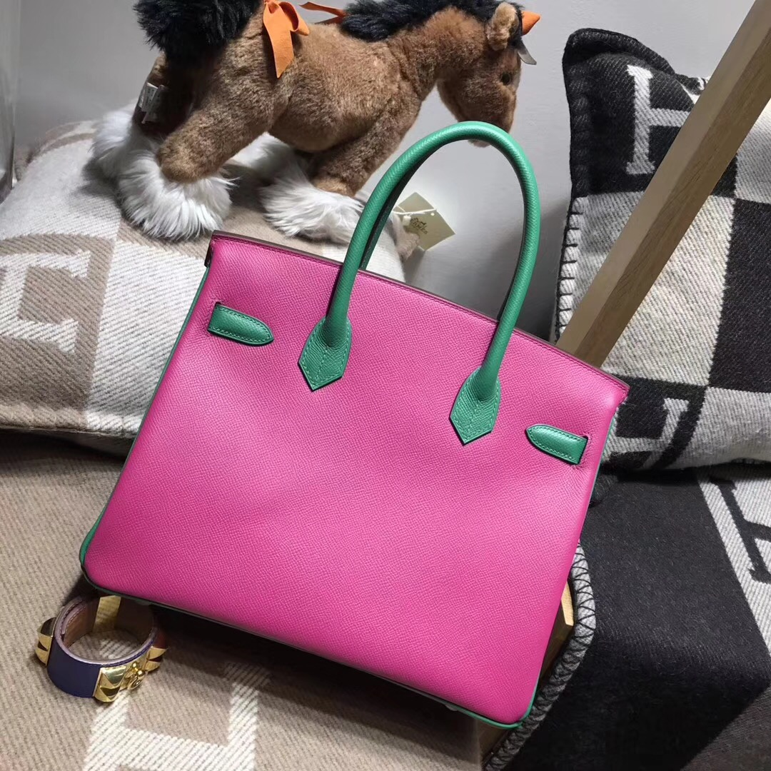 birkin 30cm epsom 18年最新rose purple L3玫瑰紫色配色u4 丝绒绿 vert vertigo金扣