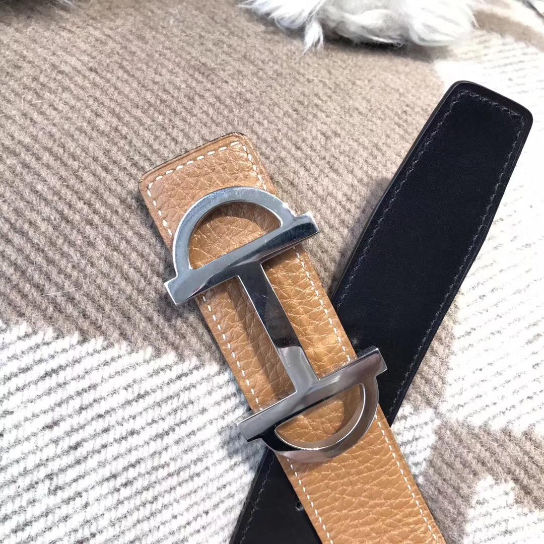 Hermes皮帶H扣 togo荔枝紋金棕色腰帶 75~115歐碼