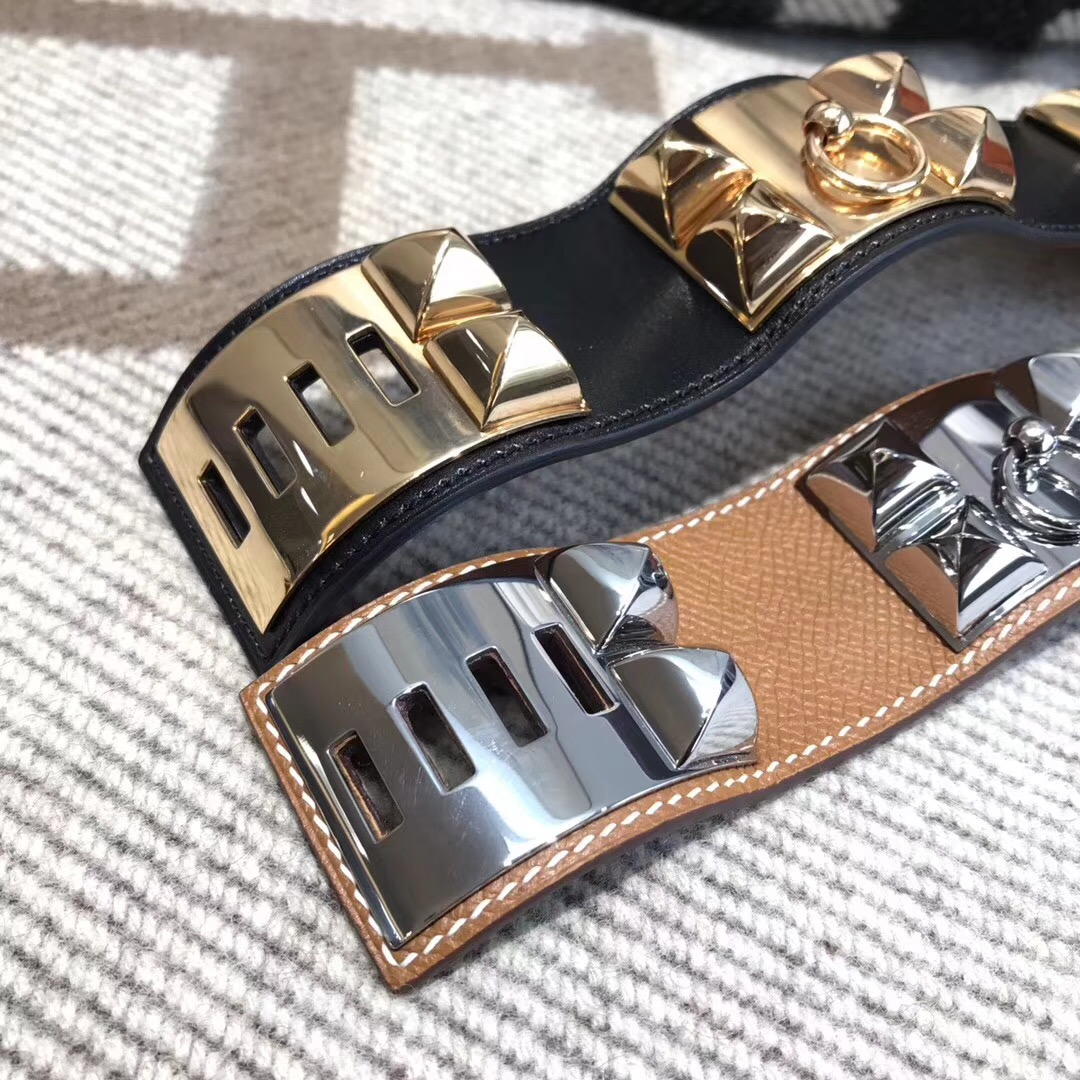 Hermes手鐲kelly寬款手鐲 鉚釘CDC Epsom皮  CK37 Gold金棕色手環