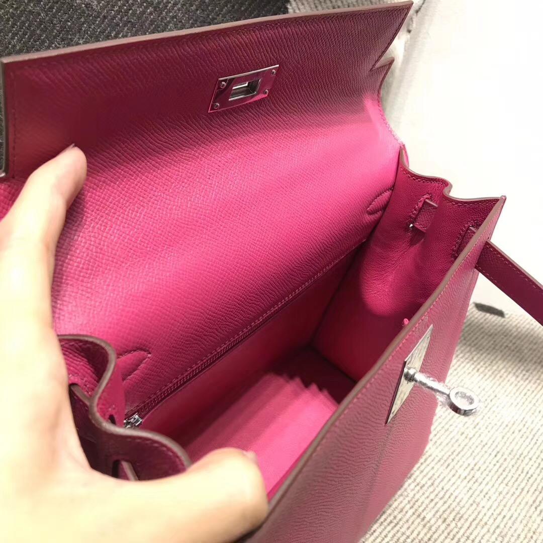 Hermes 凱莉包Kelly 28cm epsom L3玫瑰紫 rose purple 银扣 外封