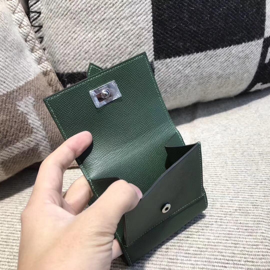 香港油尖旺區大角咀 愛馬仕Hermes Wallet Epsom皮 三折款零用錢包 6V 森林绿