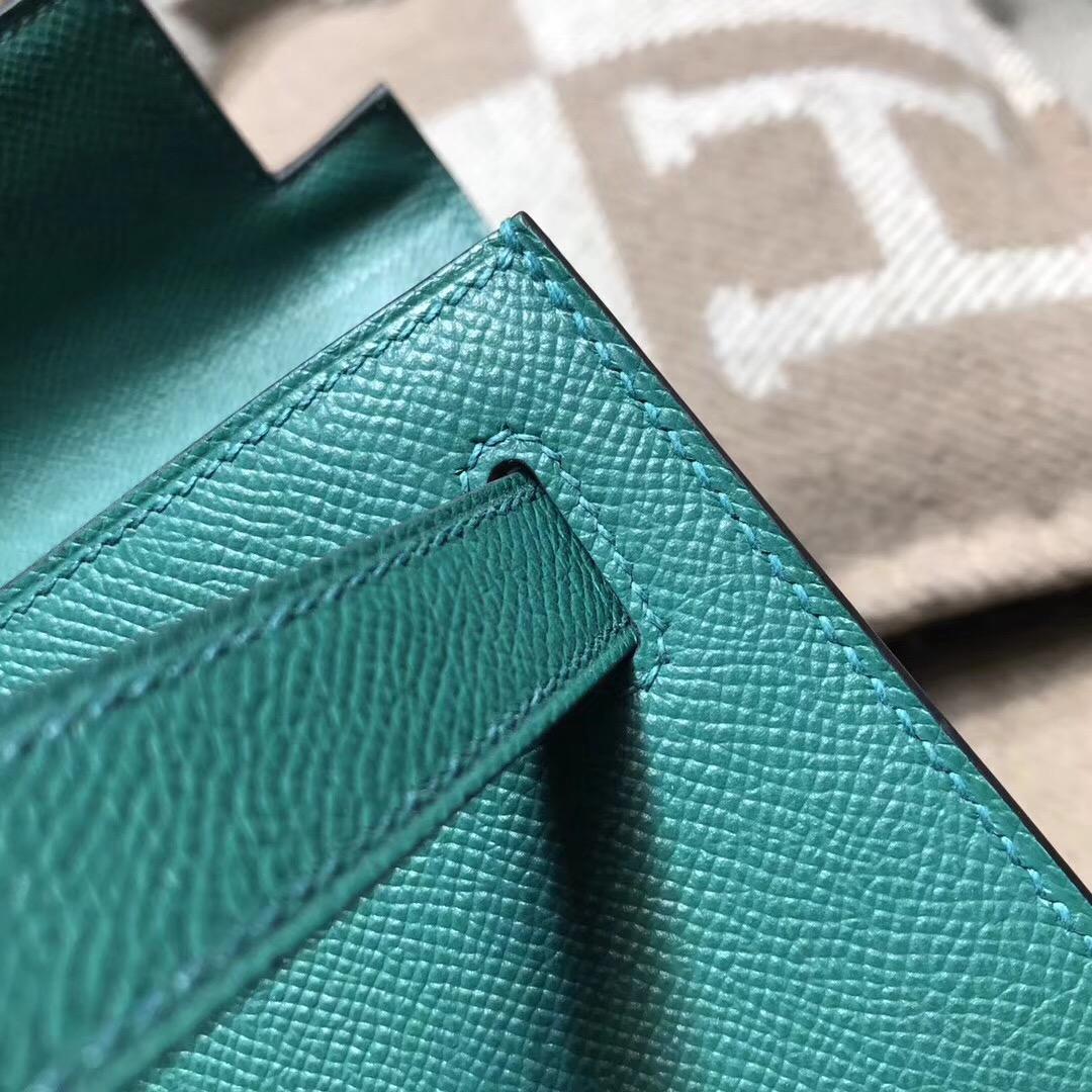 Hermes凱莉包 Kelly 28CM epsom 外缝銀扣 z6 孔雀綠 malachite