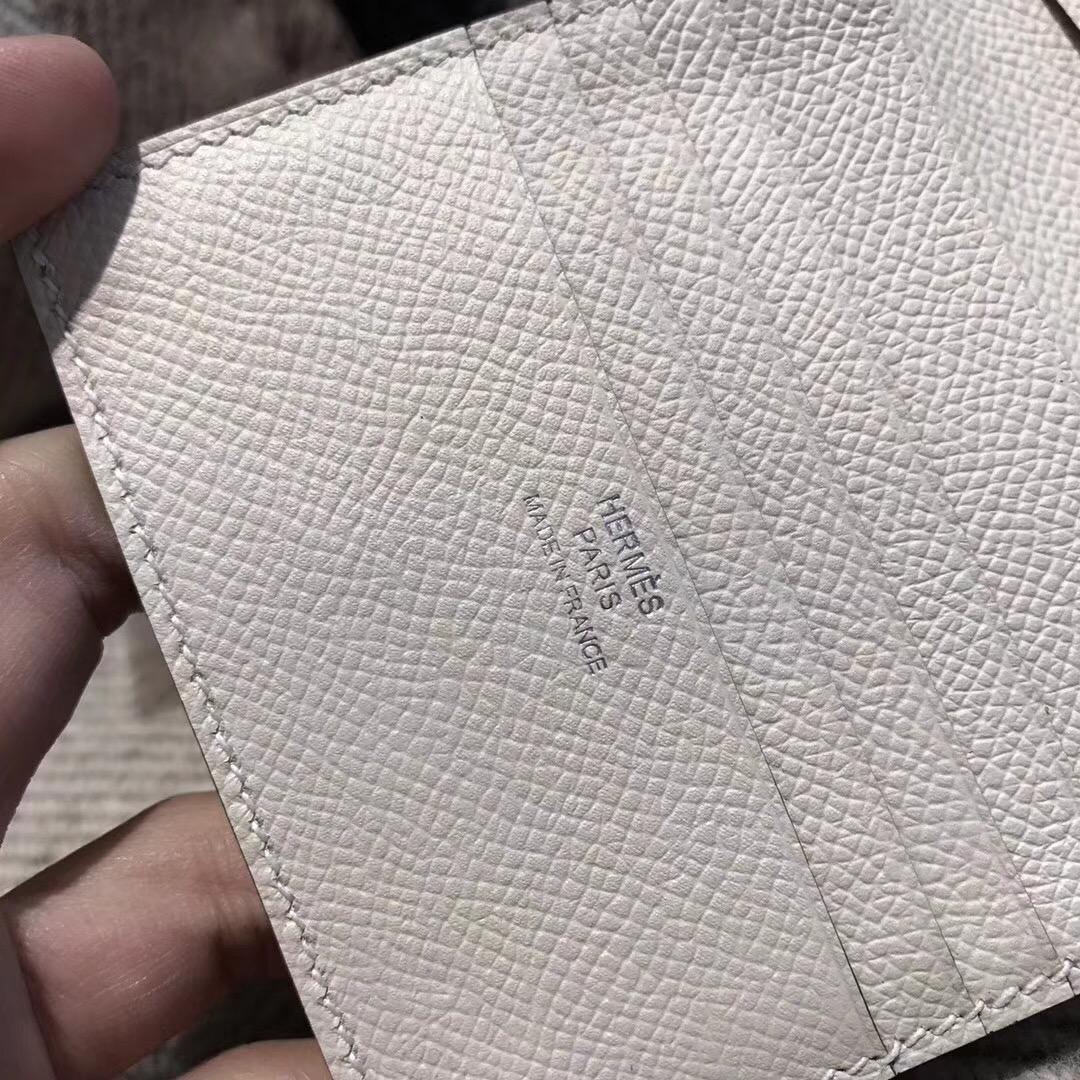 香港香港島中西區西环愛馬仕Hermes Wallet Epsom皮 三折款零用錢包 CK10 Craie 奶昔白