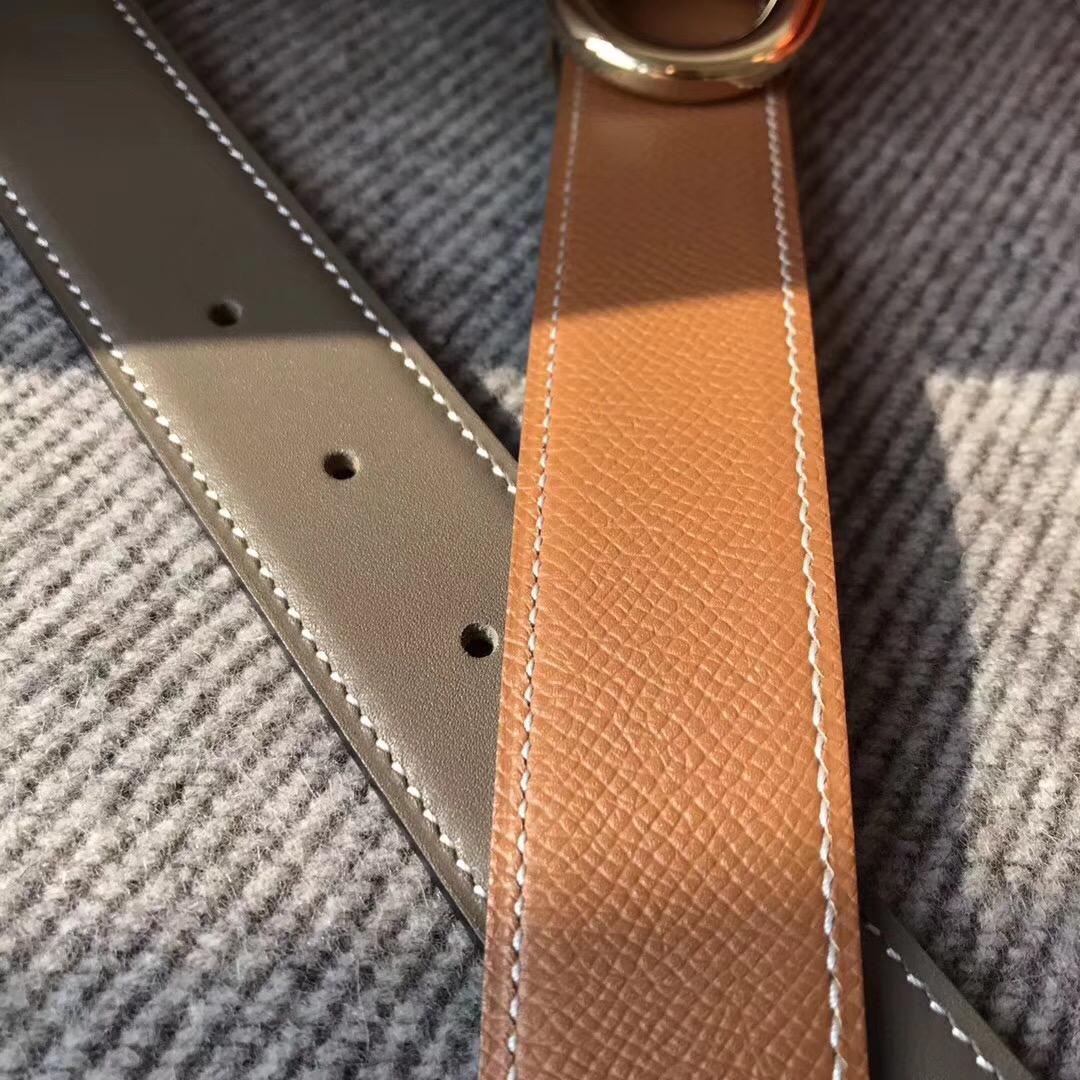 Hermes皮帶H扣 belt epsom雙面腰帶大象灰配色金棕色75~115歐碼