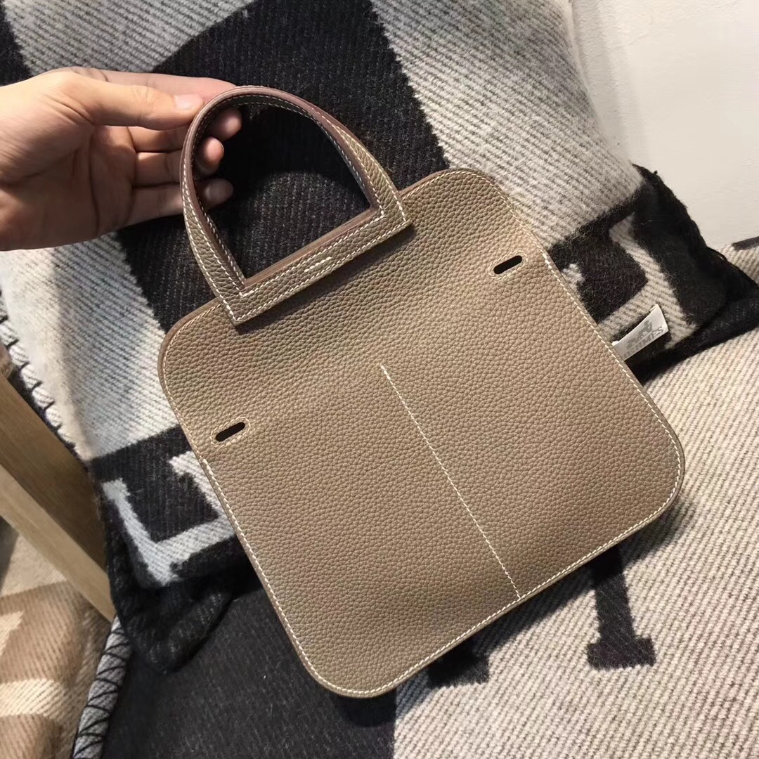 愛馬仕Hermes 迷妳包Halzan mini bag togo荔枝紋CK18 Etoupe大象灰