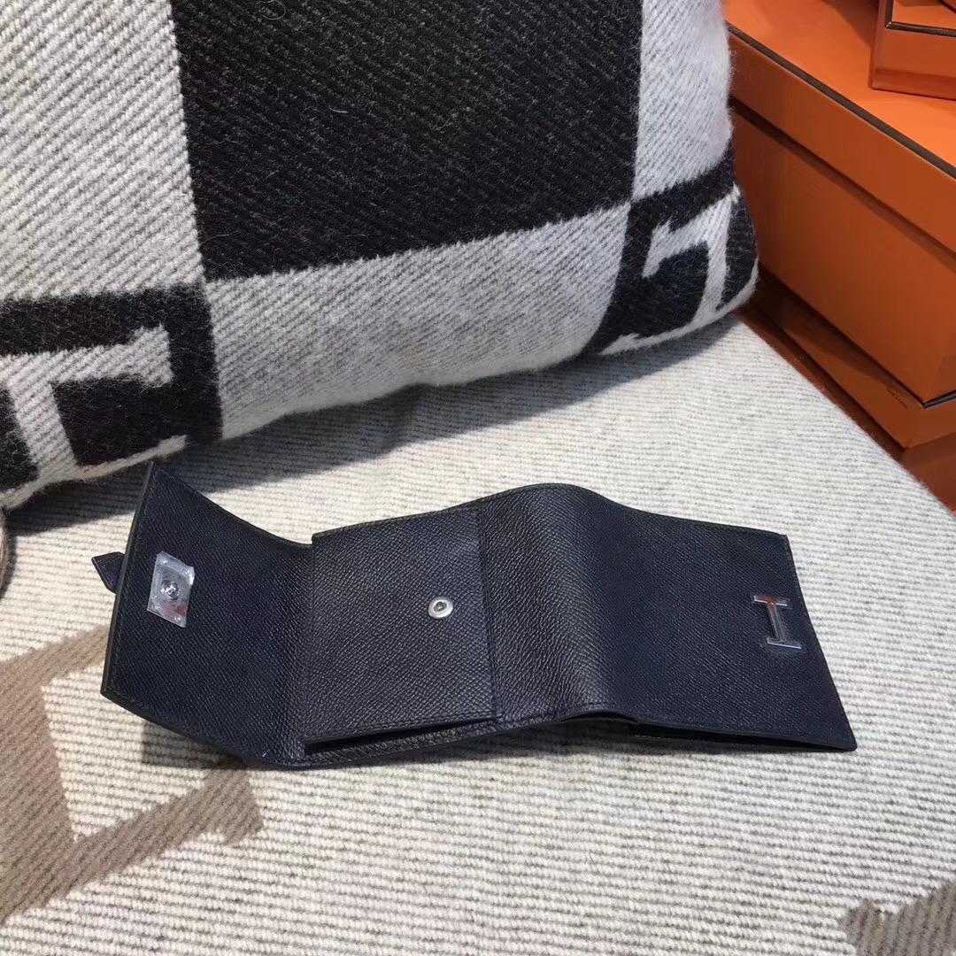 香港油尖旺區佐敦 愛馬仕錢夾Hermes Wallet Epsom皮 三折款零用錢包 89 Nior黑色