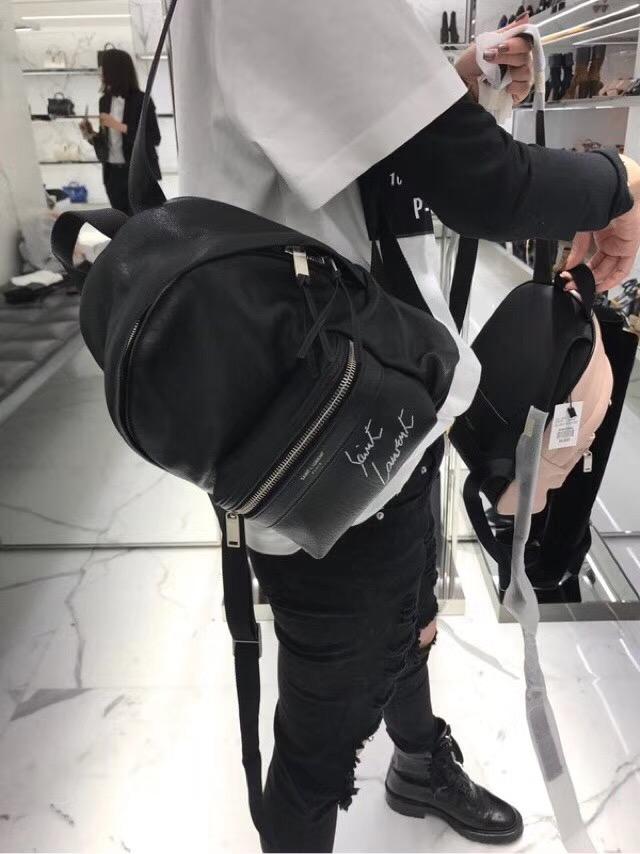 圣罗兰YSL TOY City Backpack Bag迷妳黑色羊皮真皮刺繡双肩背包