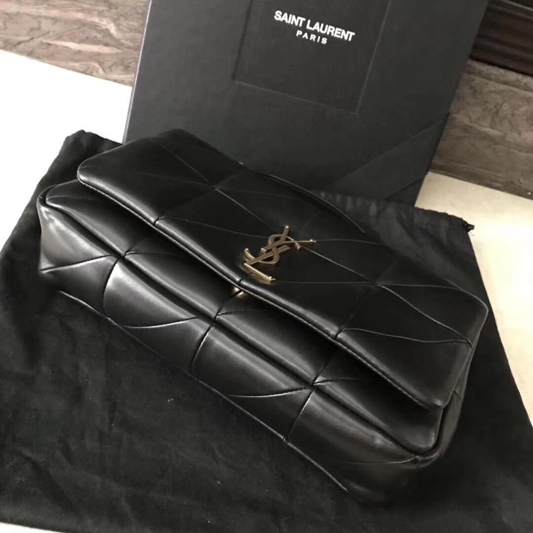 YSL Jamie bag 中號黑色羊皮拼接真皮包 四合扣封口翻蓋包