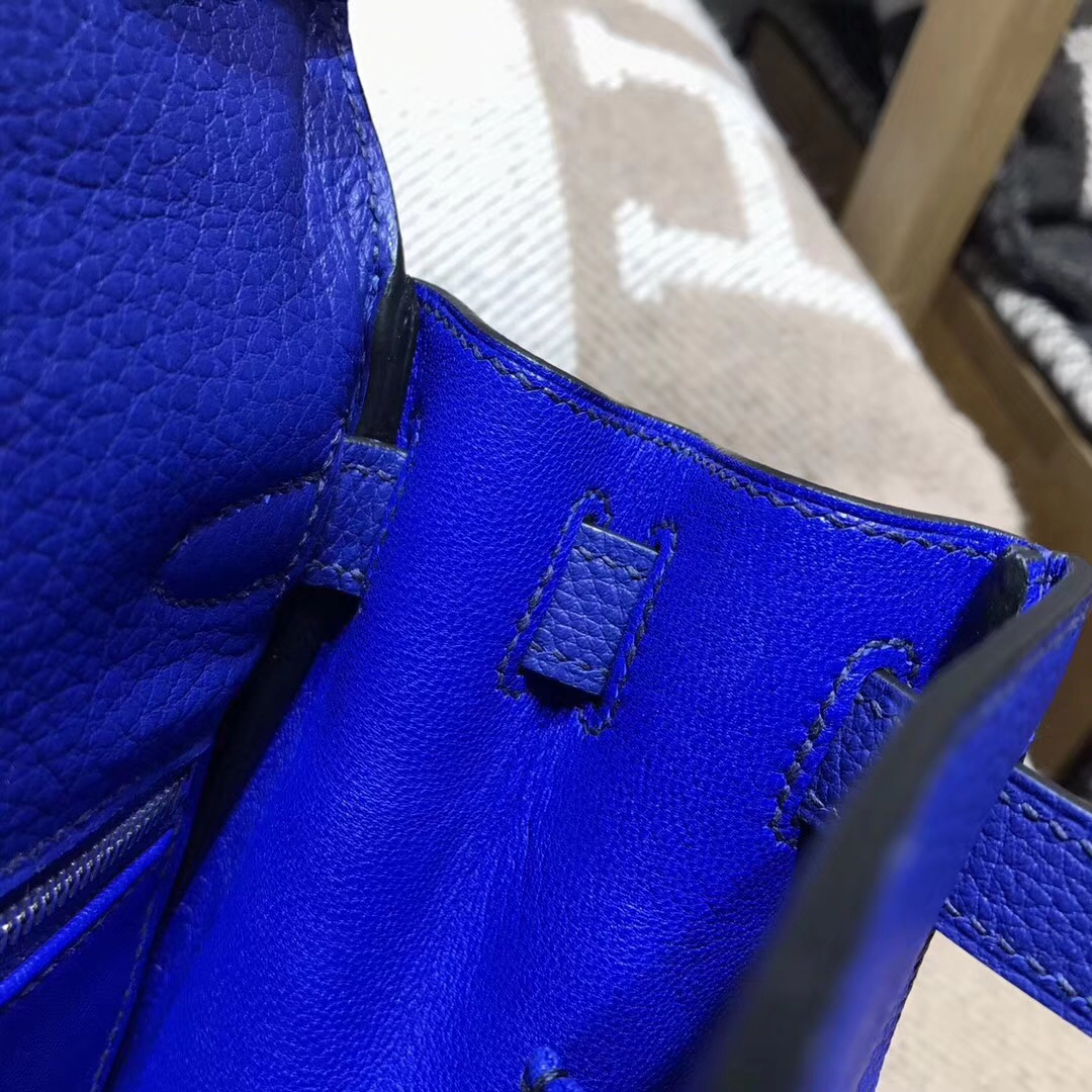 Hermes凱莉包 Kelly 28cm 7T Blue Electric 電光藍 金扣金屬
