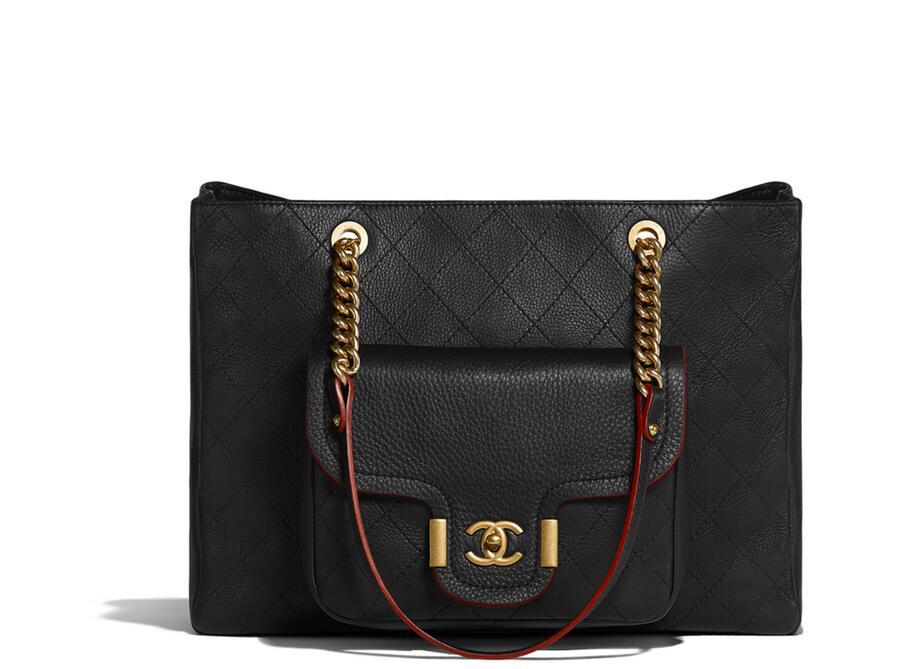 2018早春度假系列chanel Large shopping bag 黑色小牛皮大號手提包