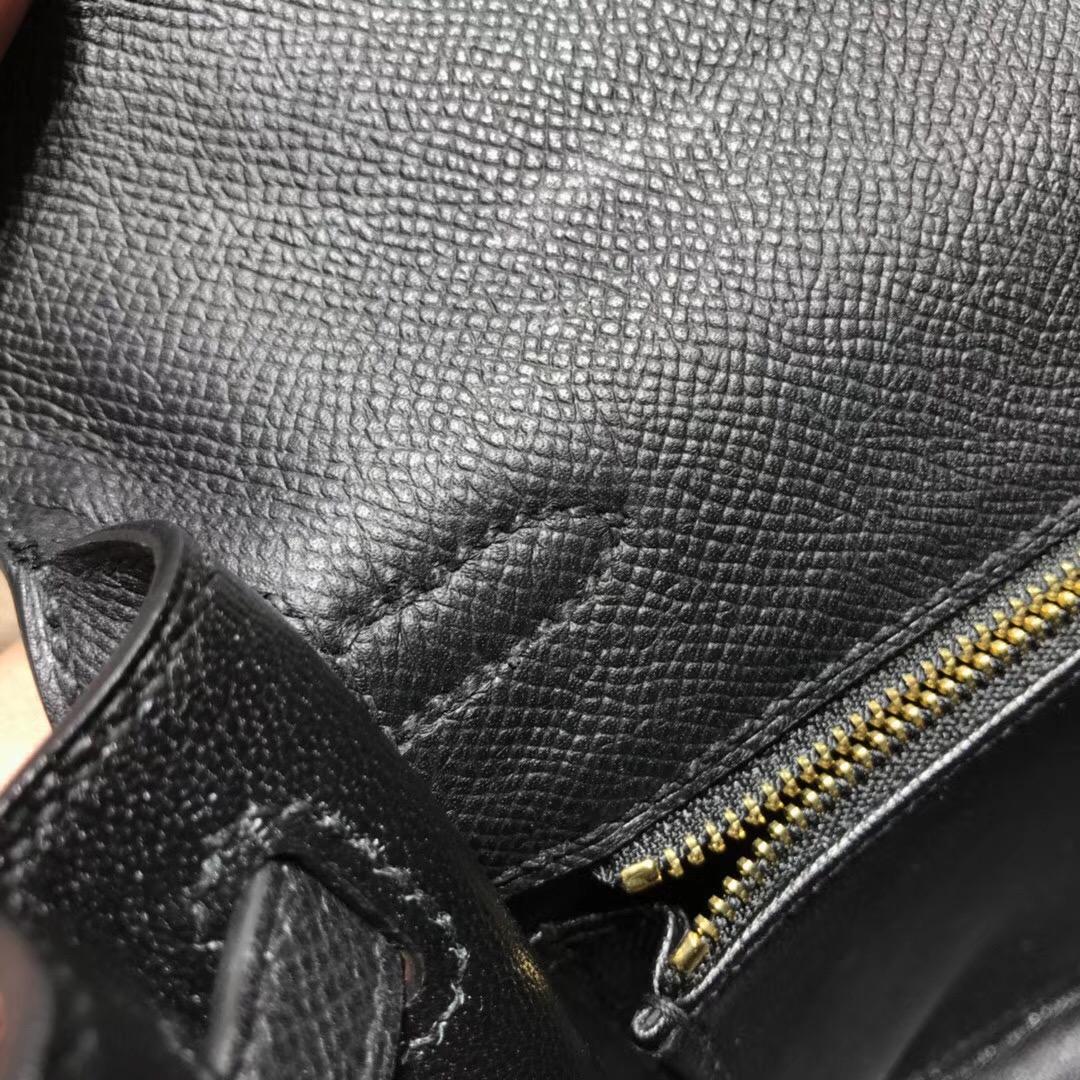 愛馬仕凱莉包Hermes Kelly 25cm Epsom Nior CK89 經典百搭黑色银扣