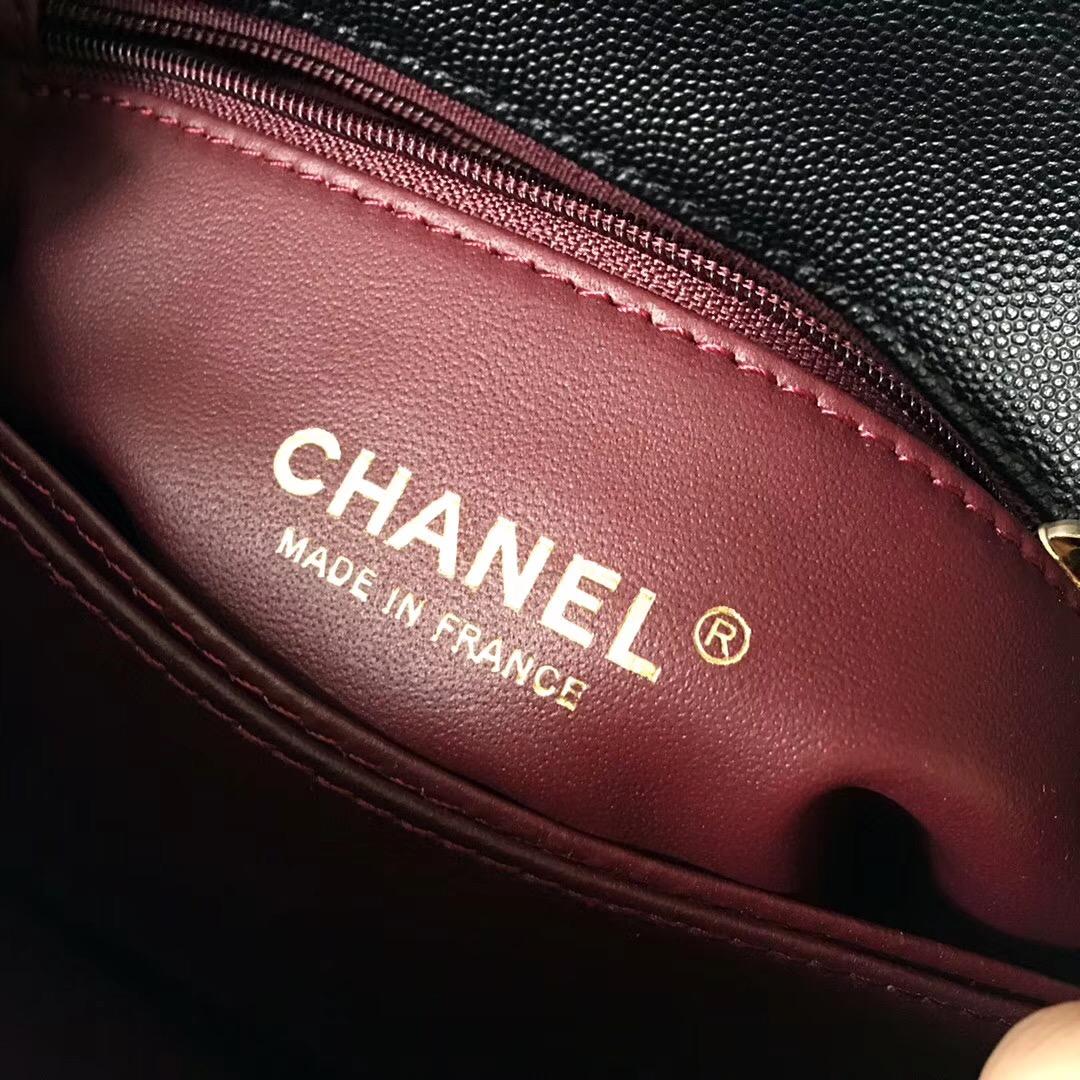 chanel復古手提包小號 coco handle bag 黑色小牛皮蜥蜴皮口蓋包 做舊五金