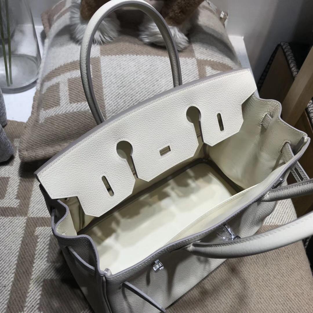 Hermes鉑金包Birkin 30CM Togo CK10 Craie 奶昔白 银扣金屬