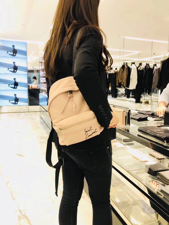 圣罗兰YSL TOY City Backpack Bag迷妳粉色羊皮 真皮刺繡背包