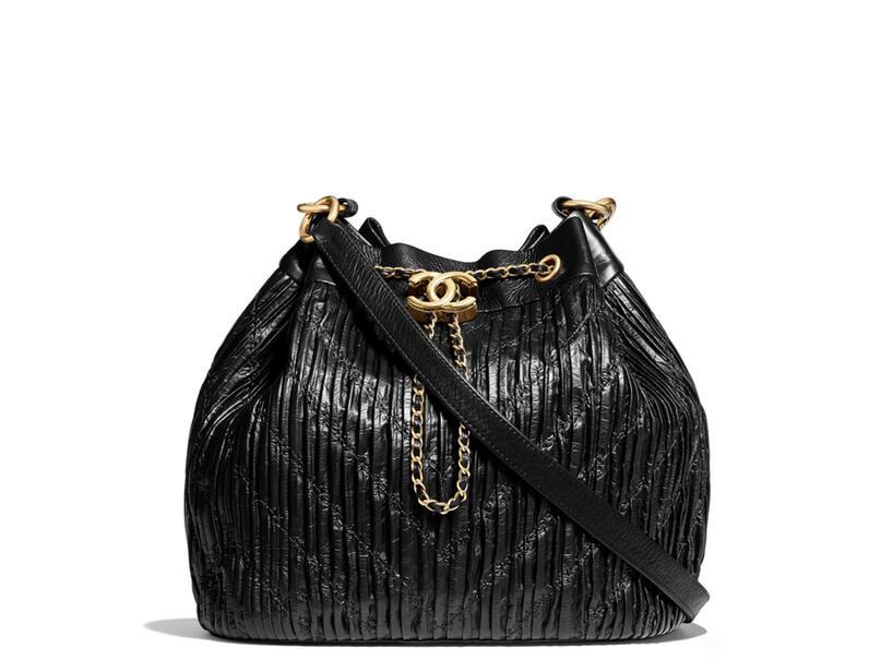 Chanel 2018春夏系列黑色大号 抽绳包black Drawstring bag