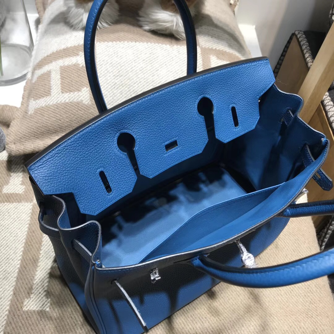 Hermes Birkin Togo 小牛皮 30cm s7加利西亞藍blue de galice银扣金屬