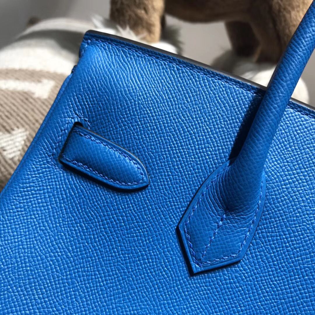 Hermes Brikin 30cm B3 Blue Zanzibar 坦桑尼亞藍 Epsom 金扣