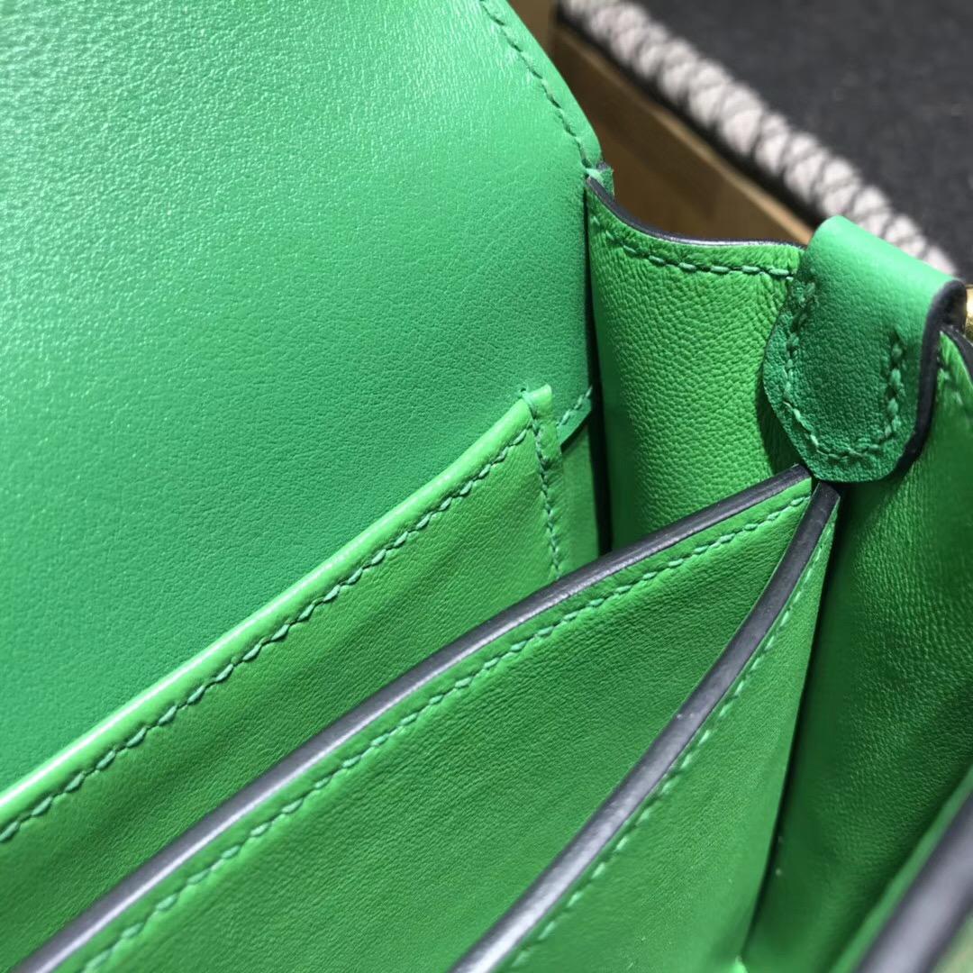 Hermes愛馬仕最具線條感的包袋 Roulis Mini 小號 U4 vert vertigo 絲絨綠
