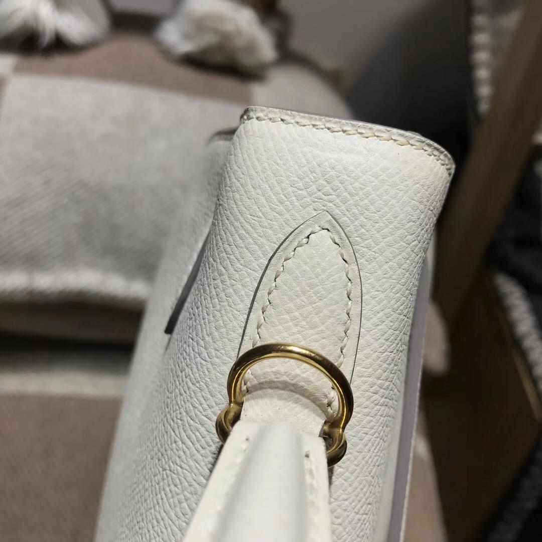 愛馬仕凱莉包Hermes Kelly 25cm Epsom CC10 Craie 奶昔白外縫金扣