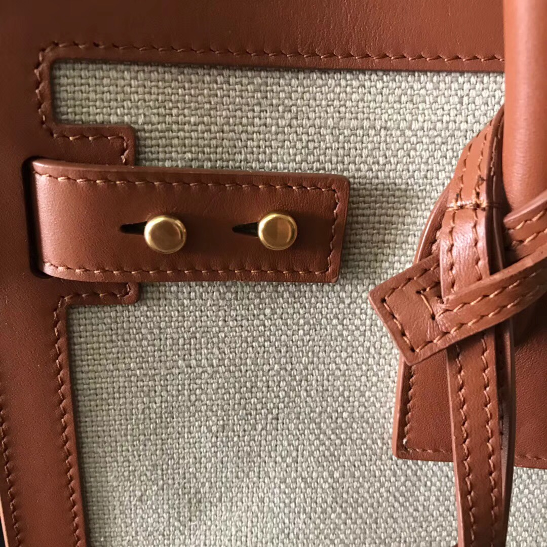 YSL風琴包 SAC DE JOUR 棕色配布料 真皮手袋