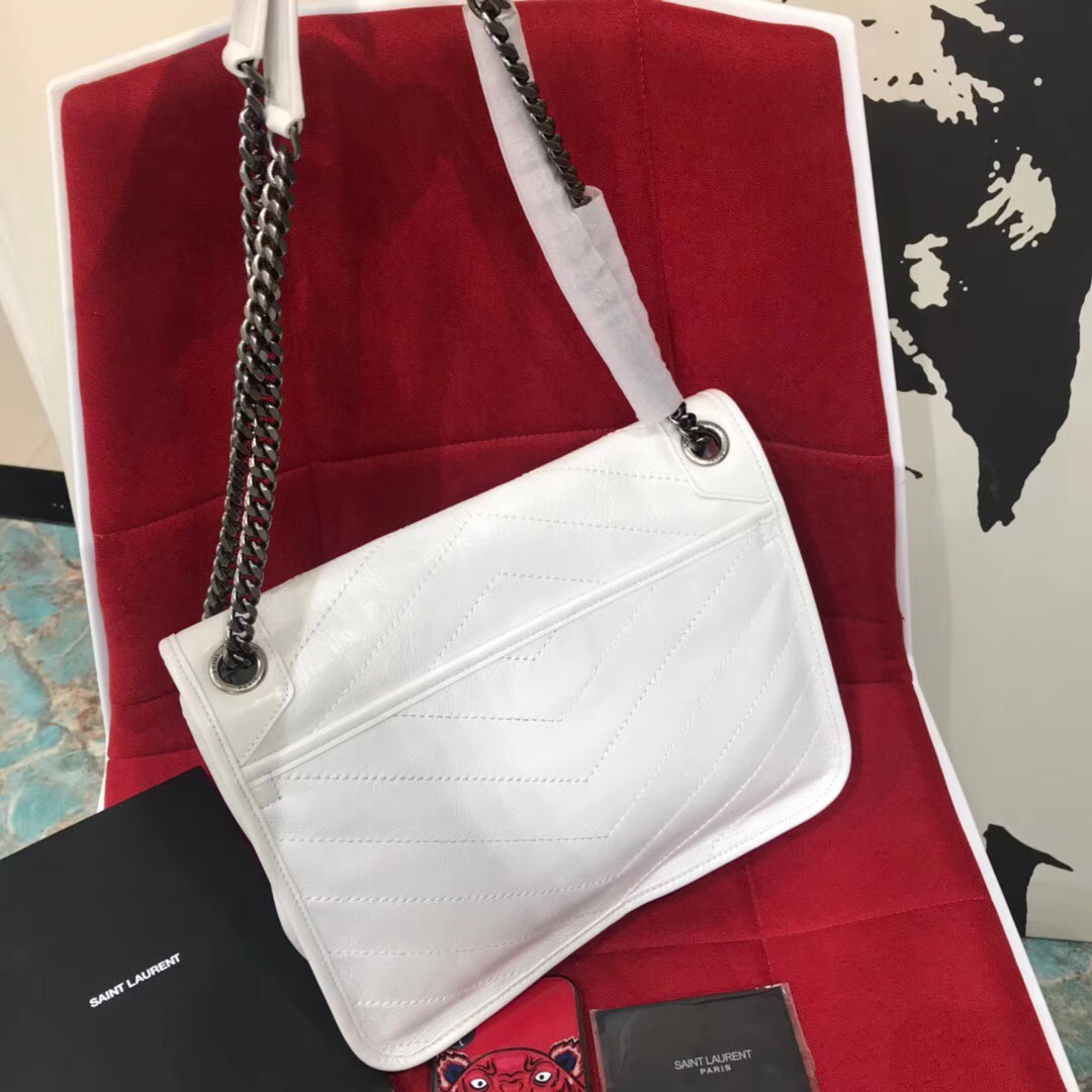 YSL Niki bags medium niki chain bag in crinkled and quilted pearl white leather