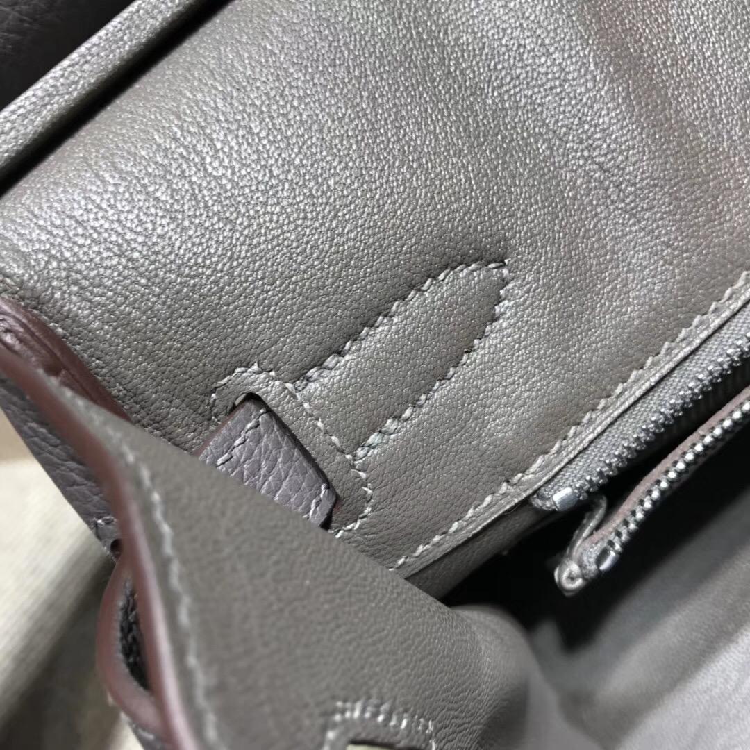 Hermes鉑金包Birkin  togo 30CM 8F Etain錫器灰 银扣金屬