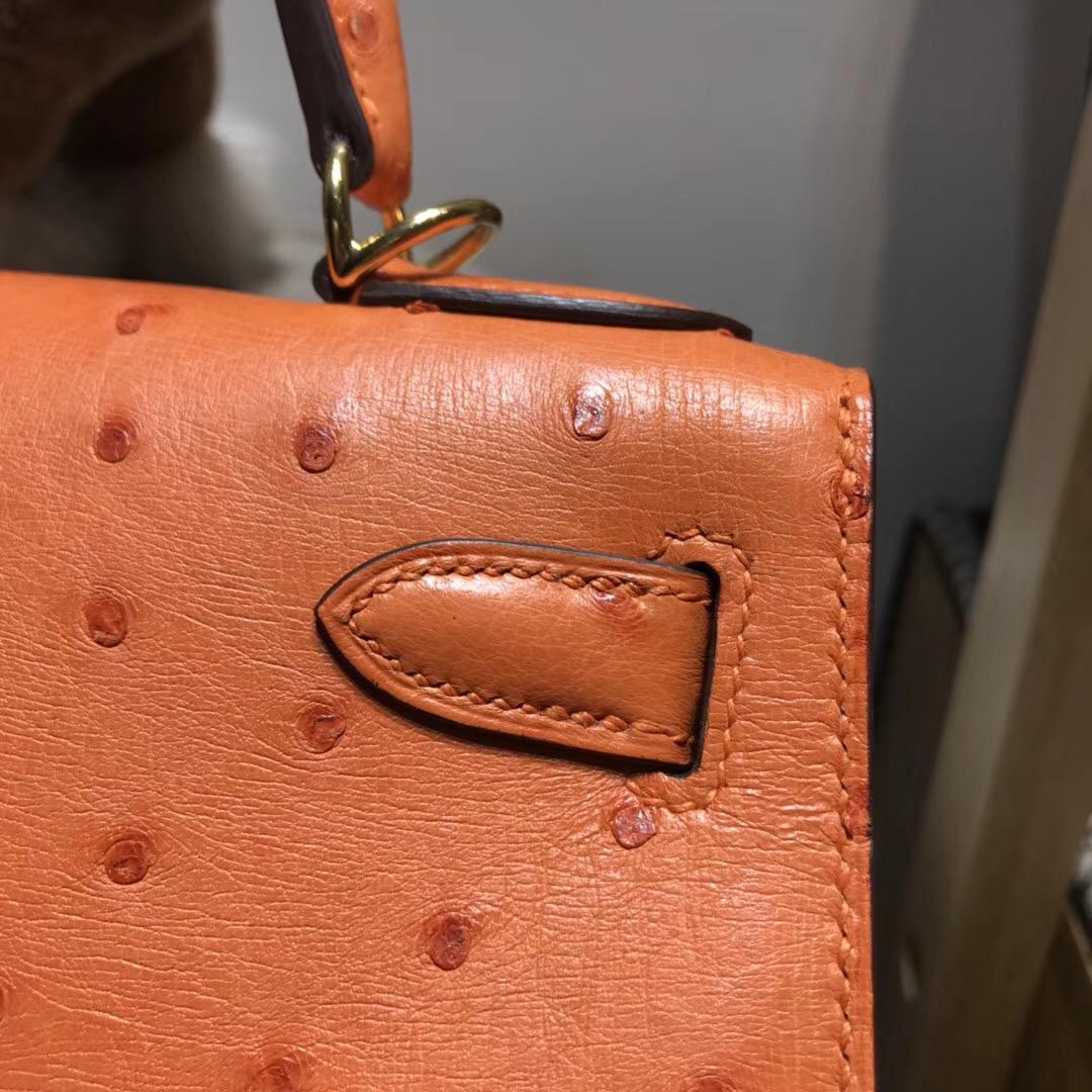 Hermes Kelly 28cm 鴕鳥皮經典橙色CK93 Orange 金扣外封本色蜜蠟線純手縫