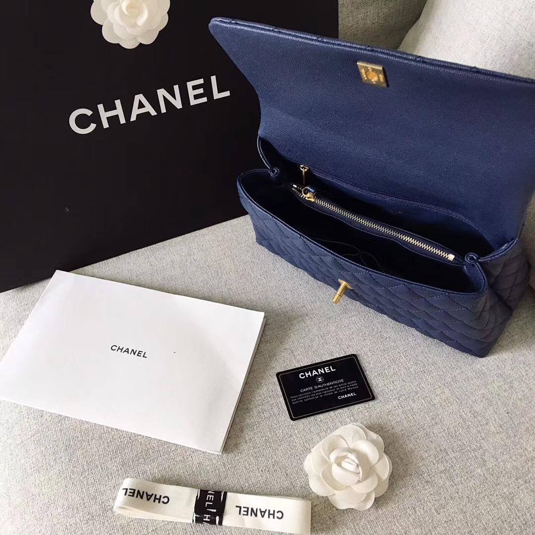 chanel復古手提包 中號深藍色小牛皮 蜥蜴皮 coco handle bag口蓋包