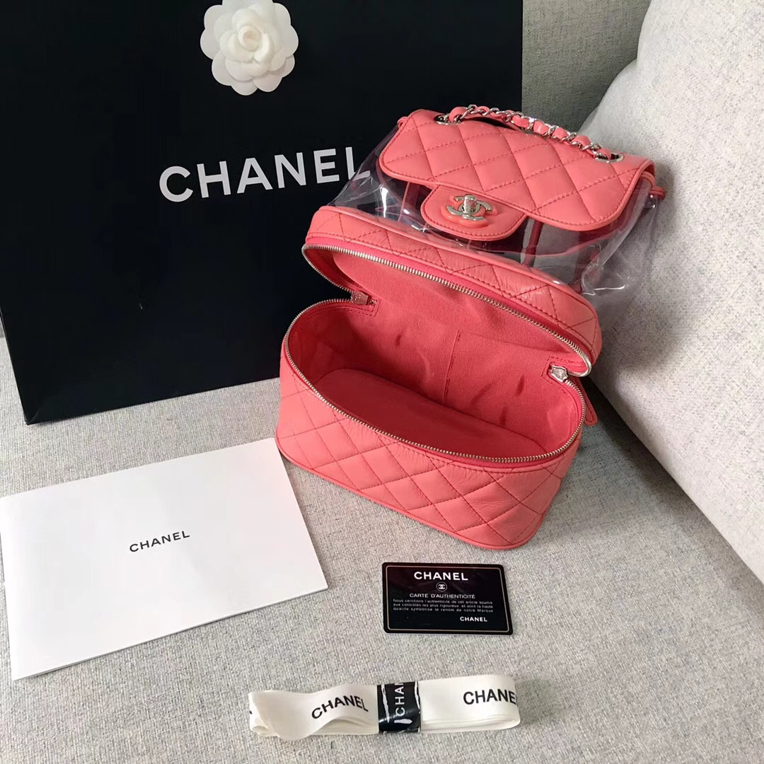 chanel 2018早春系列粉红皺紋小牛皮 PVC 口蓋包Flap bag backpack bag
