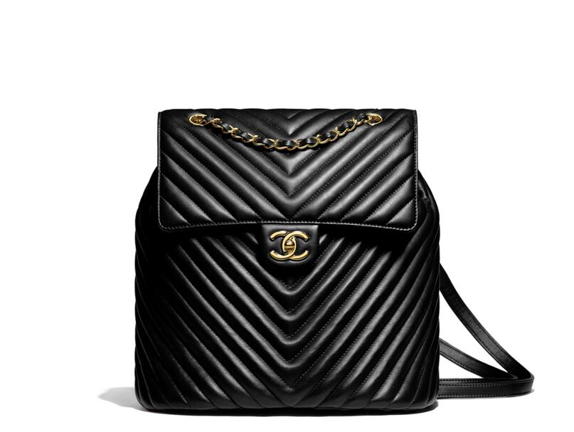 2018春夏新款chanel 黑色小牛皮 雙肩背包Backpack Bag