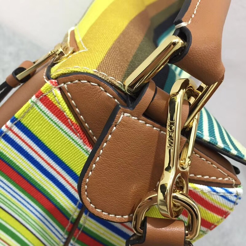 loewe 彩色條紋棉質帆布Puzzle Stripes Bag Multicolor canvas/classic calf