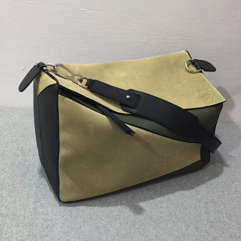 羅意威幾何包 Loewe 特大號38cm 小牛皮 Puzzle Bag Gold/Military Green/Black