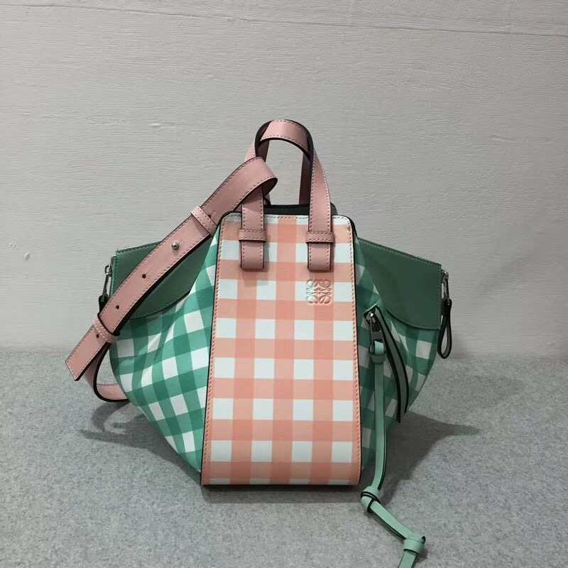loewe  Hammock Gingham Small Bag Salmon/Sea-Water Green