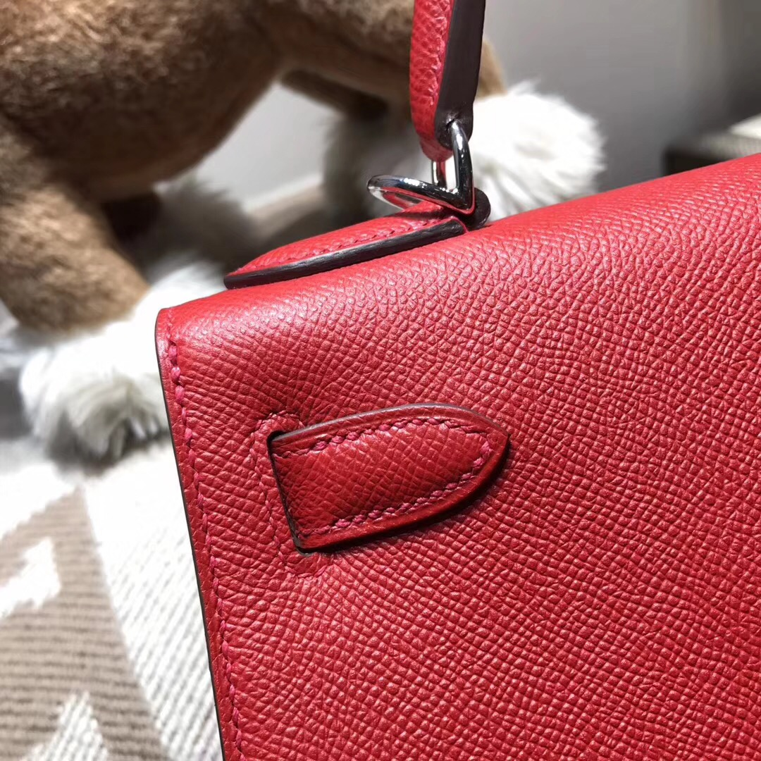 Hermes Kelly 28cm Epsom Q5 Rouge Cossacks 草莓红 国旗红