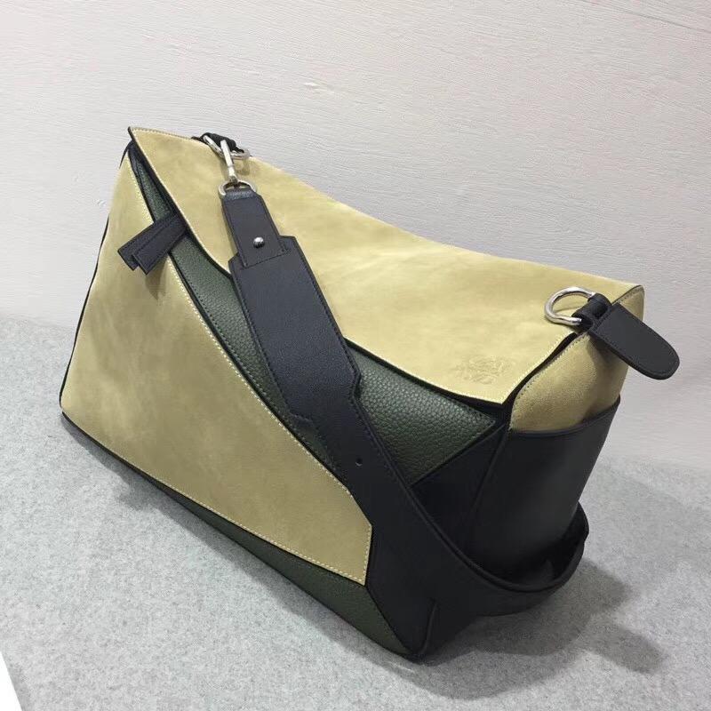 羅意威幾何包 Loewe 特大號38cm 小牛皮 Puzzle Bag Gold/Military Green/Black