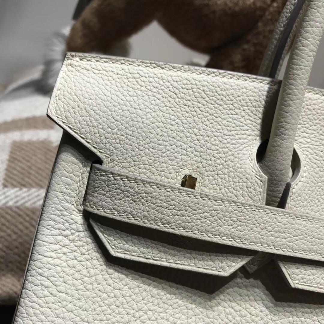 Hermes鉑金包Birkin 30CM Togo CK10 Craie奶昔白金扣GHW氣質淡牙的素色系
