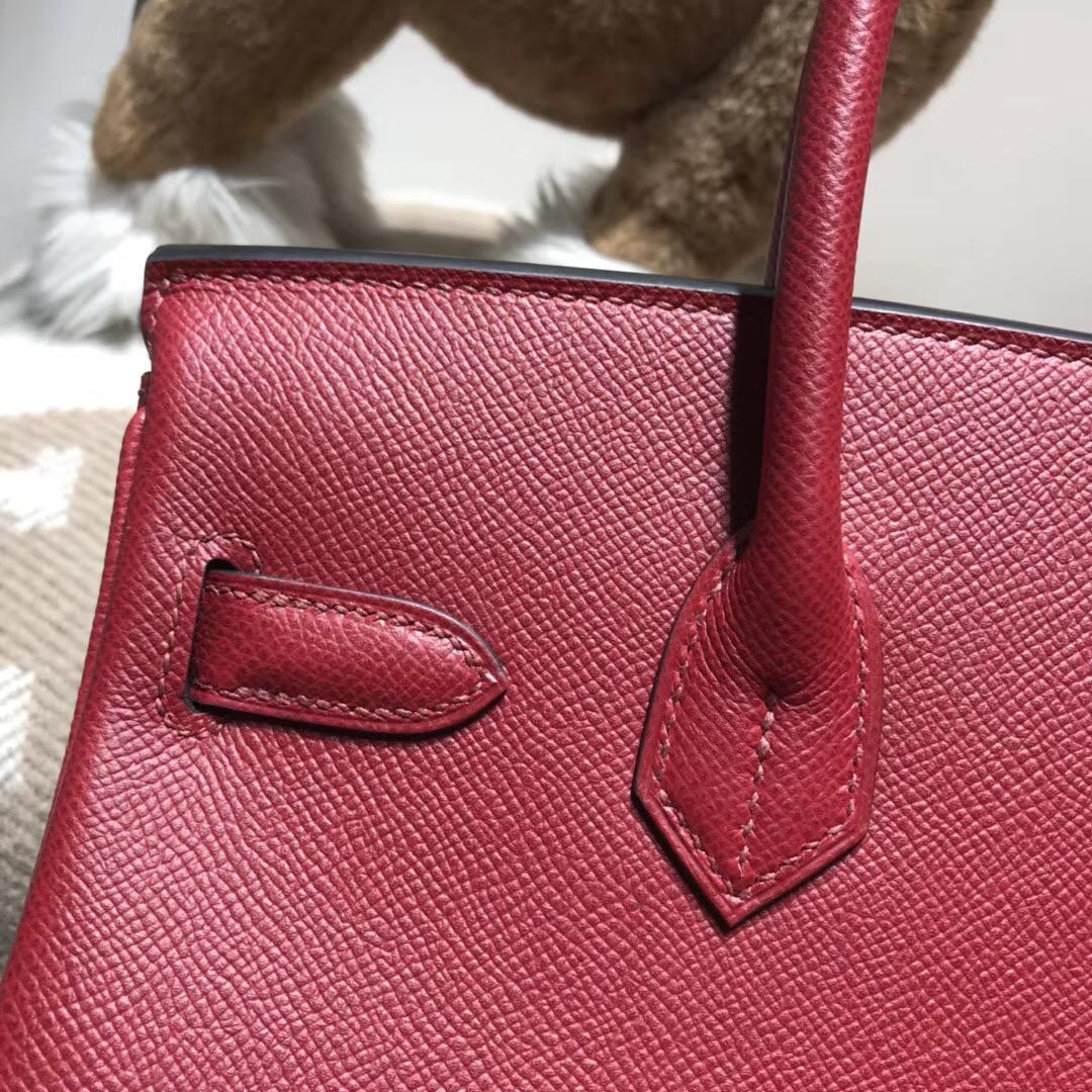 Hermes鉑金包birkin 30cm EPsom K1 Rouge Grenat 石榴紅 銀扣金屬