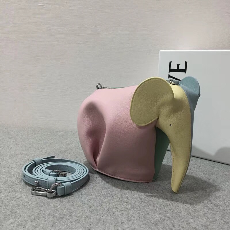 loewe Elephant Rainbow Mini Bag Multicolor 彩色拼色牛皮大象包