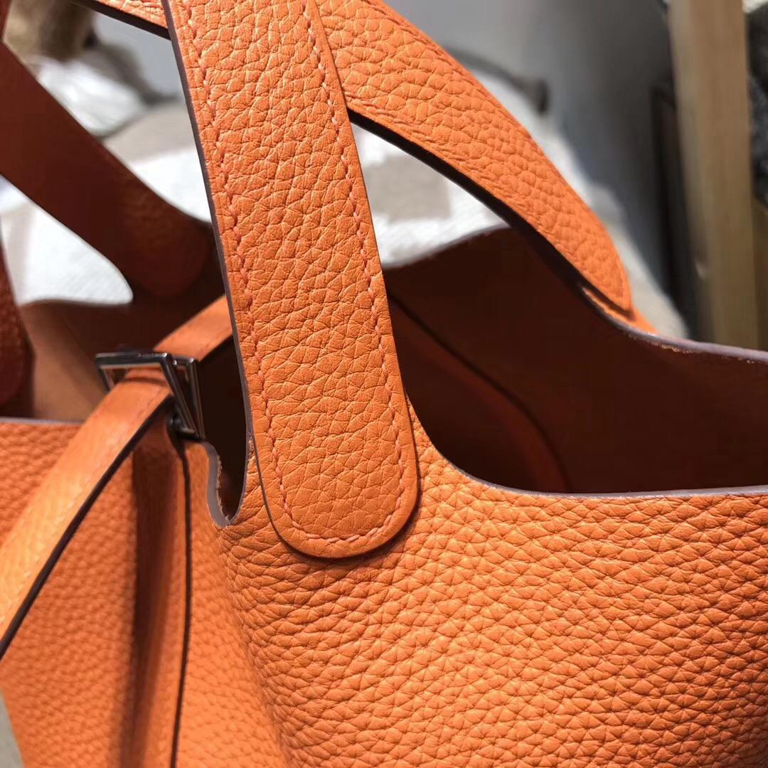 Hermes 鎖頭包Picotin Lock  18 cm 菜篮子 CK93 Orange经典橙色