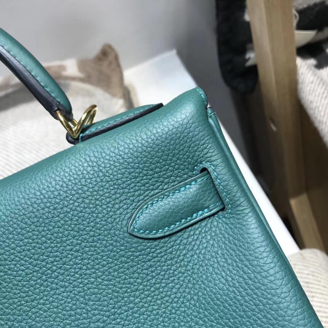 Hermes Kelly包 32cm Z6 Malachite孔雀綠 Togo 內縫金扣金屬