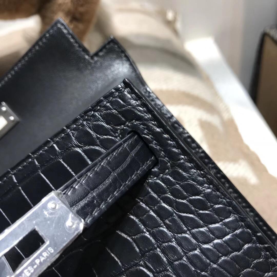 Hermes凱莉包迷妳手提包 Mini kelly二代crocodile matt黑色霧面 銀扣方塊鱷魚