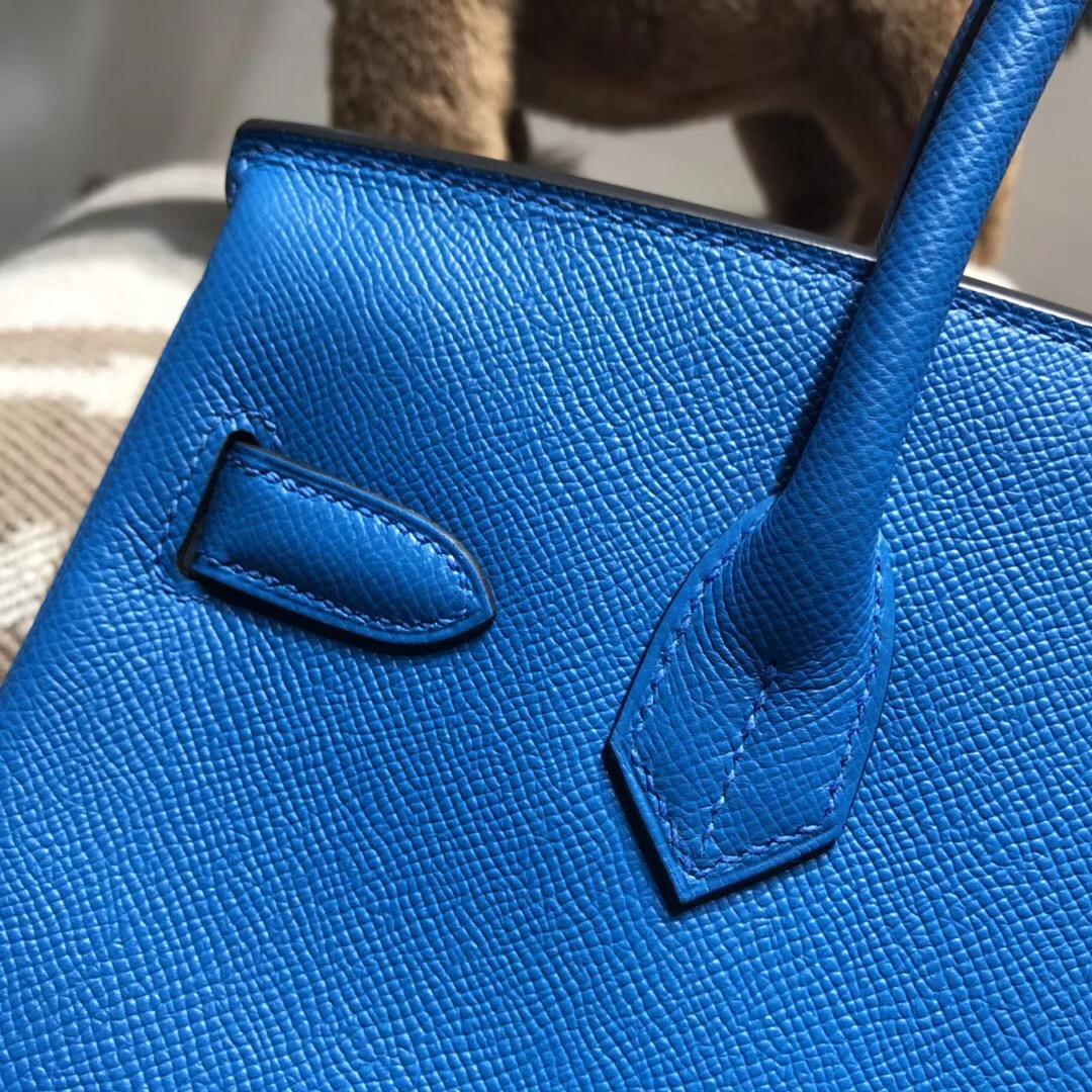 Hermes Brikin Epsom 30cm B3 Blue Zanzibar坦桑尼亞藍 银扣金屬
