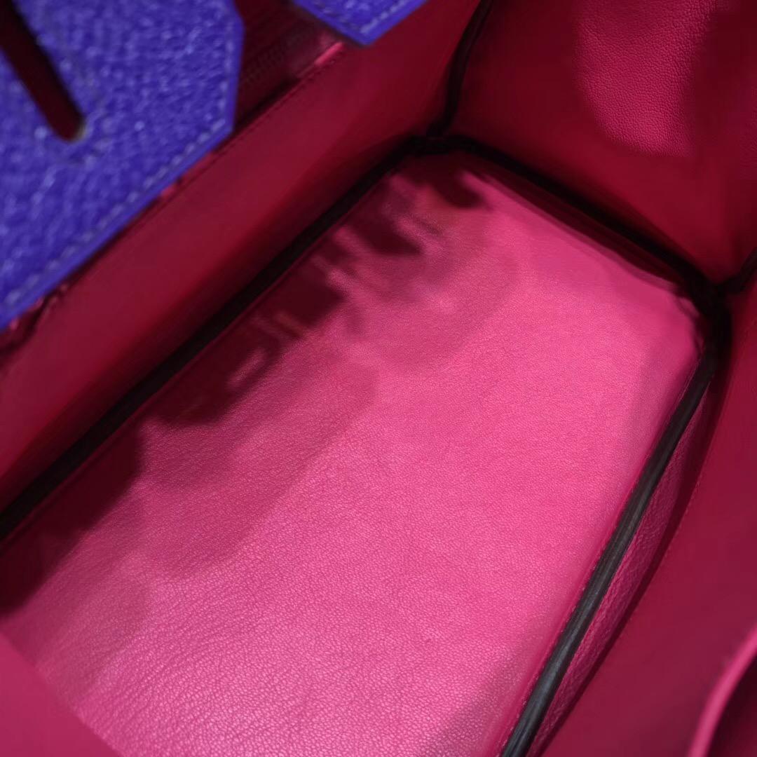 Hermes birkin 30cm山羊皮chevre myzore拼P9 Anemone海葵紫/內裏5R艷桃紅 銀扣馬蹄印