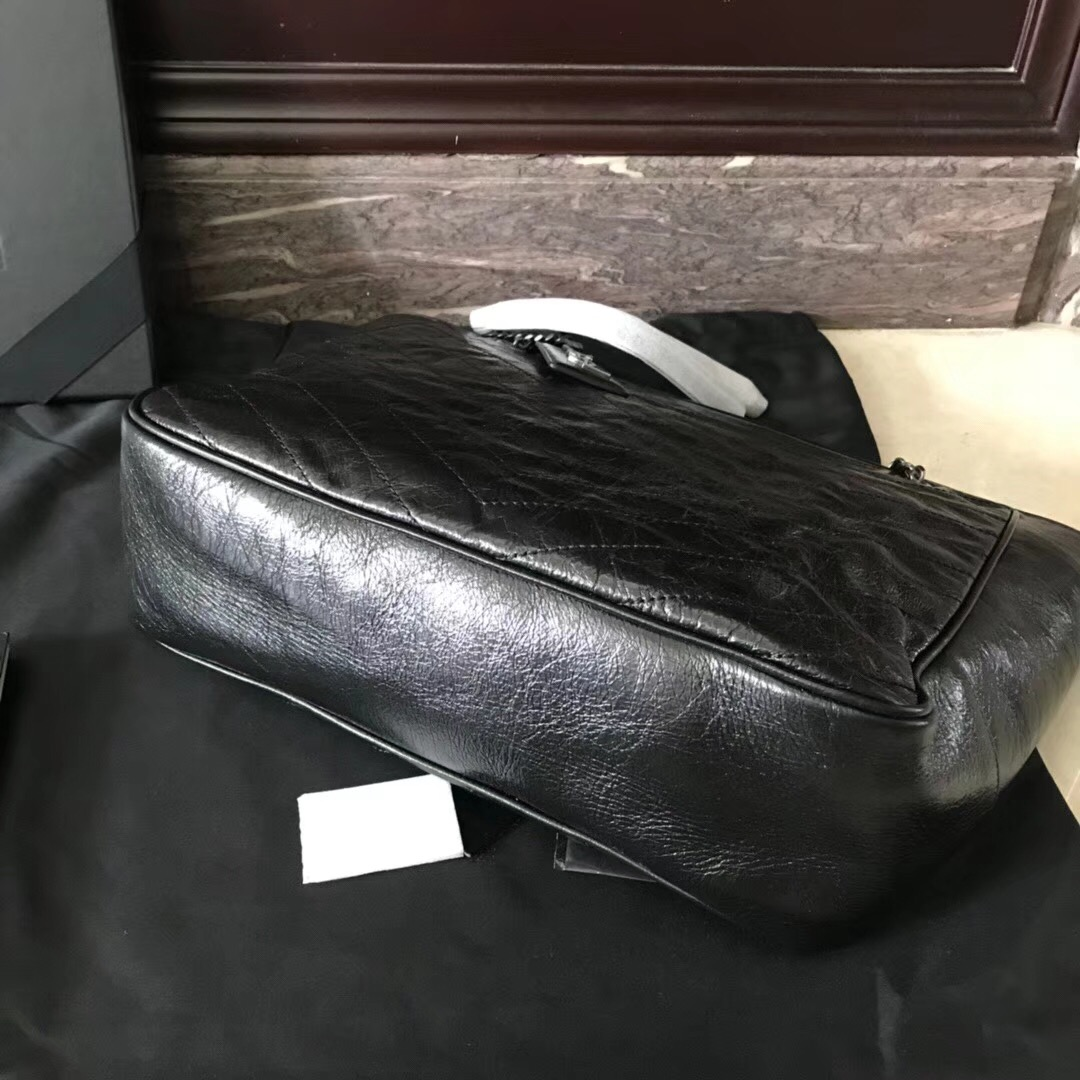 YSL Niki bags large niki shopping bag in crinkled and quilted black leather