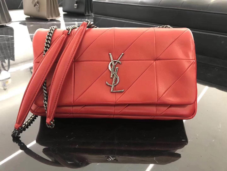 YSL Jamie bag 中號红色羊皮拼接真皮包 四合扣封口翻蓋包