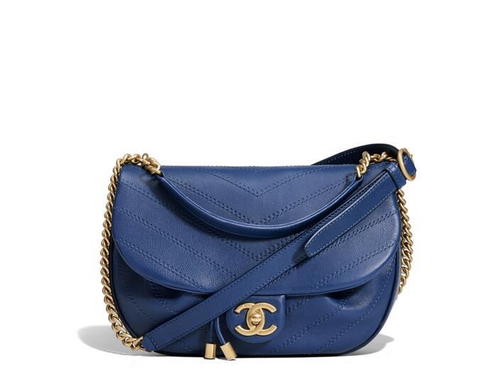 Chanel官網 2018春夏系列 blue藍色 小牛皮口蓋包Flap Bag A57128
