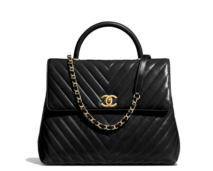 Chanel官網 2018春夏系列 黑色小牛皮與金屬口蓋包Flap Bag A92993
