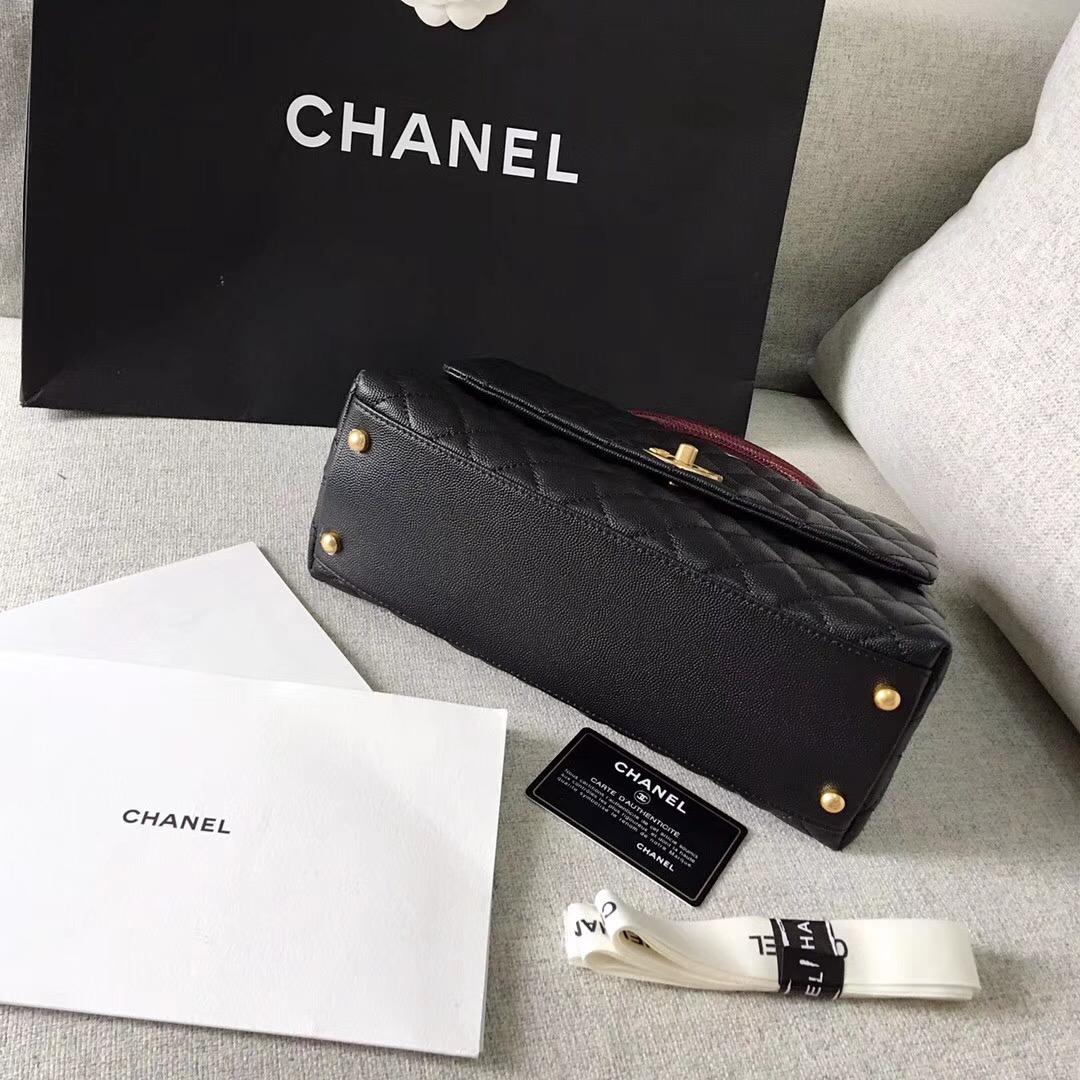 chanel復古手提包黑色小牛皮 蜥蜴皮 中號 coco handle bag 口蓋包 復古金