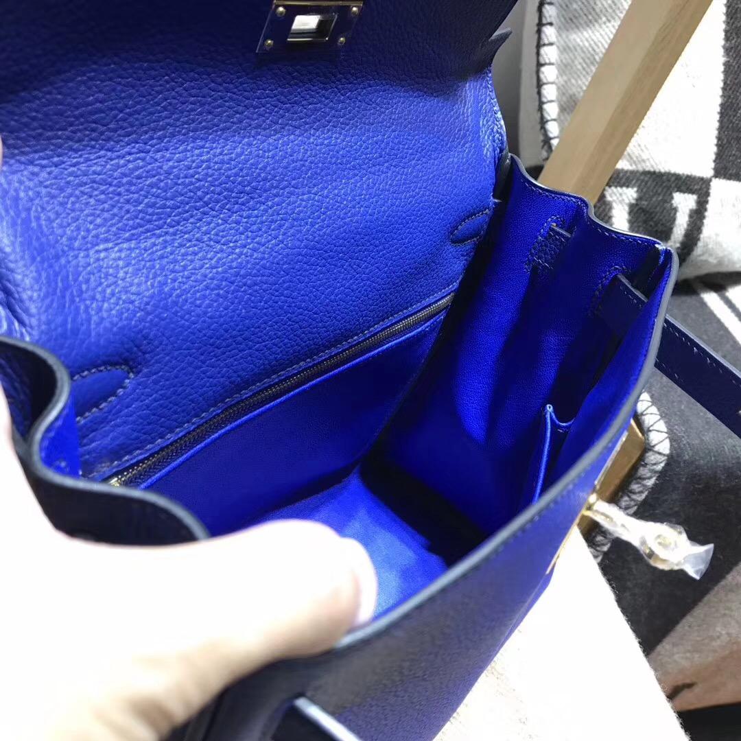 愛馬仕凱莉包 Kelly 28cm 7T Blue Electric 電光藍 銀扣金屬